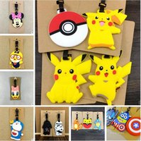 cartoon suitcase - Lage Tags Mickey Minnie Cartoon Pikachu Star Wars Checked Travel Silicone Lage BatmanTags Pokeball Figures Suitcase Checked Tag
