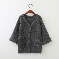Wholesale Coat Baby Crochet - Everweekend Girls Knitted Gray Sweater Cardigans Western Fashion Crochet Coats Pockets Cute Baby Autumn Sweater Jacket Outwears