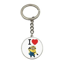 Wholesale Minion Birthday - 2017 Hot Selling Cute Cartoon Anime Minion Keychain Fashion Glass Key Holder Love Gift For Best Friend Cool Birthday Gift NS73