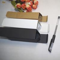 Wholesale essential oil packaging - 100pcs lot 2.5x2.5x5.2cm 7.2cm 7.8cm White black kraft Paper Box Lipstick Perfume Essential Oil Bottle packaging boxes valve tube package