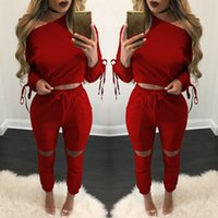 Wholesale Womens Mid Sleeve Shirts - 2017 New Arrival Womens Clothing Low Price Casual Wear spring style sweat shirt Lace up tracksuit women Long Pants Set Sports Cotton Suit 08