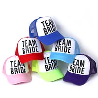 Wholesale Truckers Cap Black Wholesale - Wholesale- 2017 new BRIDE TO BE TEAM BRIDE Bachelorette Hats Women Wedding Preparewear Trucker Caps White Neon Summer Mesh Baseball caps