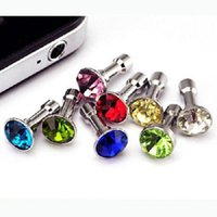 Wholesale Earphone Jack Accessories - 1000pcs lot Luxury Phone Accessories Small Diamond Rhinestone 3.5mm Dust Plug Earphone Plug For smart phone and android phone
