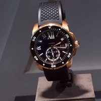 Wholesale Rubber Strap Mens Watches - New Mens Watces Automatic 6 DIVER Two Tone Rose Gold Rubber Strap CALIBRE DIVER'S Watch Mechanical Men Wristwatches