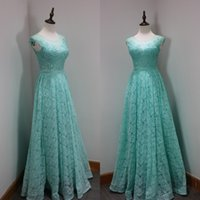 Wholesale Aqua Blue Lace Evening Dresses - Turquoise Aqua Blue Custom Made Prom Dresses A Line Illusion Jewel Neck Sleeveless Sexy Top Crystals Lace Evening Party Gowns