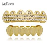Wholesale hip nightclub - Lureen Gold Silver 2 Row Rhinestone Grills Teeth For Men Woman Fashion Hip Hop Bar Nightclub Body Jewelry