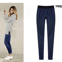 Wholesale Cheap Women Jeans Pants - Wholesale- Cheap wholesale 2016new Autumn Winter Hot sale women's fashion casual Europe foot trousers pure color jeans pencil pants