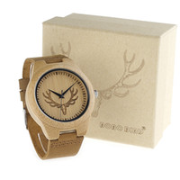 Wholesale Round Bamboo Box - BOBO BIRD Deer Head Wooden Watch Antique Genuine Cowhide Leather Band Lovers Luxury Watches Bamboo Wood Quartz Wristwatch Gift Box