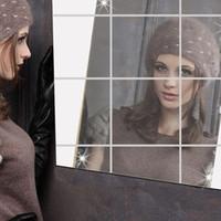 projetos de árvores molduras de parede venda por atacado-16x Espelhos Mosaico Azulejo Autocolantes de Parede Autocolantes Quentes Quadrado Decalque Adesivos Para Decoração de Espelho de Beleza