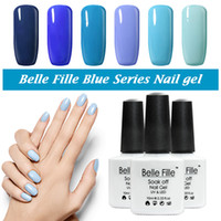 Wholesale Wholesale Green Nail Polish - Wholesale-Belle Fille UV Gel Nail Polish Blue series Nail Polish Gel LED Light UV Manicure for Gel Nail Bluesky Color Fingernail Polish