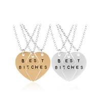 Wholesale celtic kits - 2 3pcs set Broken Heart Best Bitches Friends Necklaces Kits Split Hearts Puzzle Pendants Necklace for Women jewelry Drop Shipping
