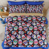 Wholesale 3d Unique Comforter Sets - New Arrival 3D Skull Bedding Set Single Queen King Size Bed Sheet Bedlinen Cool Unique Skeleton Cotton Duvet Cover Sets Bedroom