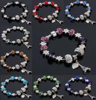 contas de cristal de alta qualidade venda por atacado-9 Cores de Moda Murano GlassCristal Europeu Charme Beads Serve Charm pulseiras Pandora Estilo Pulseira de Alta qualidade jóias