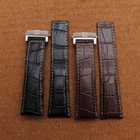 bandas de relógios de couro genuíno venda por atacado-Alta Qualidade durável dobrado implantação fivela pulseira de couro Genuíno largura de banda 20mm 22mm 24mm substituição watchbands acessórios