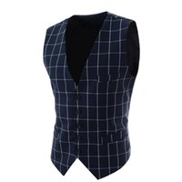 Wholesale Stylish Vests For Men - Wholesale- Mens Plaid Suit Vest Stylish Waistcoats For Men Sleeveless Jackets Spring Autumn Vintage Slim Fit Single Breasted Casual Vest