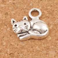 Wholesale Handmade Cats - Lying Cat Spacer Charm Beads Pendants 200pcs lot Jewelry 14x14 mm Antique Silver Alloy Handmade Jewelry DIY L1153