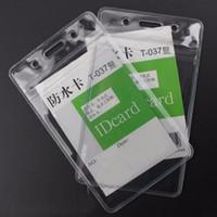 Wholesale Waterproof Id Badge Case - Transparent Vertical 68X110mm Soft Waterproof ID Badge Holders PVC Name Card Case Certificate plastic Horizontal