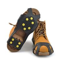 cubiertas de zapatos de hielo al por mayor-Nuevo S M L XL 4 Tamaño 10-Stud Universal Hielo Sin resbalón Zapatos para nieve Picos Agarre Pinzas Crampones Invierno Escalada Sin resbalón Zapatos Cubierta