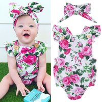 Wholesale Kids Flower Set - Flower Romper + Headband Set Pink Chinese Peony Floral Sunsuit Cotton Fashion Summer Onesies 2017 Kid Clothing 0-24M Over $200 Free DHL