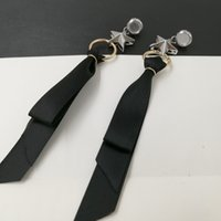 Wholesale Punk Bowknot - Fashion Brand Metal Star Stud earrings for women Black Ribbon Bowknot Earrings Punk Brincos Tassel earring Boho Jewelry 2017