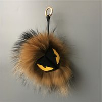 Wholesale Pendant Fox - Luxury Brown Fur Cross Eyes 100% Genuine Fox Fur Monster Fluffy Bug bag Charm Ball Pom-pom Doll Bag Car Keychain Backpack Pendant handbag