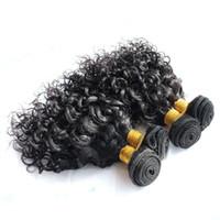 cabelos encaracolados mongóis venda por atacado-4 Pcs Feixes de Cabelo Humano Onda de Água Jerry Onda 50g / pc Cor 1B Indiano Mongol Encaracolado Tecer Cabelo Virgem Extensões para Curto Estilo Bob