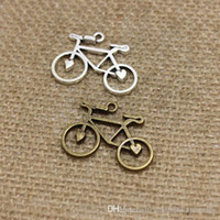 Wholesale Bike Jewelry Silver - Wholesale 100pcs Antique Bronze Silver Plated Vintage Bike Bicycle Charms Pendants for Jewelry Making DIY Handmade Craft 22x31mm CP230