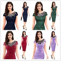 Bodycon Dresses spandex lace shorts - Vfemage Womens embroidery Elegant Vintage Dobby fabric Hollow out embroidered Ruched Pencil Bodycon Evening Party Dress Round neck lace