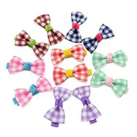 Wholesale Accessories For Hair Childrens - Kids Bows Hair Clips Polka Dot Ribbon Bows Hairpins for Girls Childrens Boutique Bow With Clips 7 Style Baby Hairs Barrettes Accessories