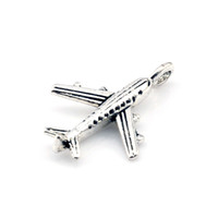 Wholesale Airplane Charms - MIC 200pcs Antique silver Zinc Alloy Airplane Charms 24mm DIY Jewelry