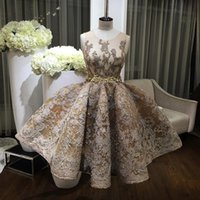 Vintage Gold Homecoming Vestidos Puffy saias Beads Jewel Neck Lace Appliqued Short Prom Gowns Crystal Formal Dress Evening Wear