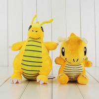 Wholesale pokemon dragonite toy - Anime Poke Cute Dragonite Pikachu Plush Toy Soft Stuffed Doll Toy for kids gift free shipping retail
