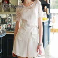 Wholesale Sleeve White Lace Dress Vintage - Dabuwawa New Fashion Woman White Crew Neck Lace Short Sleeve A-Line Dress Midi With Pocket Vintage Elegant Dresses For Special Occasions