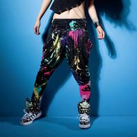 moda neon şeker toptan satış-Çocuklar Yetişkin Yeni Moda Marka şeker renk eşofman Rahat doodle bahar yaz Pantolon gevşek neon harem hip hop dans pantolon
