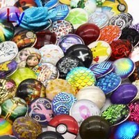 Wholesale Porcelain Animal Beads - 50pcs lot Resin noosa Interchangeable Glass Snap Buttons DIY Jewelry Accessory Ginger Snap Jewelry Mix styles Round 18mm noosa NR0085