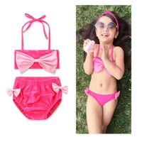 Wholesale Spa Thongs - Children bikini swimsuits baby girls cute Bows tie split Thong swimwear 2pcs sets Fashion New kids spa beach swimwear G0386