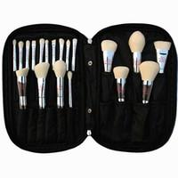 sacos vivos venda por atacado-19pcs profissional de escova da composição ao vivo Beleza Totalmente prata Kit Cosméticos Escovas com saco face Make Up Tools Coleção