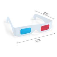 бумага 3d очки синяя голубая оптовых-Новые 3D очки красный / синий голубой бумаги карты 3-D анаглиф очки белая бумага goof view популярные