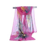 ingrosso stampa di pavone in chiffon-La fabbrica all'ingrosso stupefacente di modo chiffon sciarpe scialli sarongs modello fortunato pavone silenziatore stampato sciarpe coperture da spiaggia