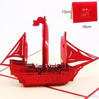 """Wholesale Good Greeting Cards - 3D Pop Up Greeting Card Ship Means """"Good Luck"""" Thank You Birthday Gift Greeting Card KT0942"""