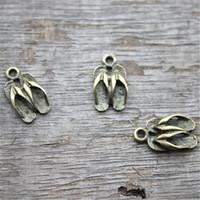 sandalet kolye toptan satış-30pcs - Terlik Charm - 3D Antik bronz Terlikler Askılar, Sandalet askı, Takı Yapımı Bulgular, 16x10mm