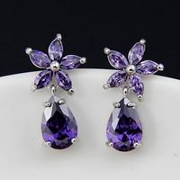 Wholesale zircon diamond earring resale online - Dazzling Purple Diamond Bridal Earrings Flower Shape Luxury Cubic Zirconia Dangle Wedding Earrings Bridesmaid Earrings In Stock