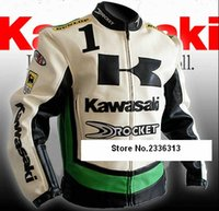 Wholesale Leather Fashion Clothing For Men - Wholesale- New for men Polyester PU Leather Kawasaki Motorcross jacket Protector Waterproof Durable clothes winter outerwear Coats