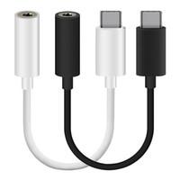 câbles noirs de 3,5 mm achat en gros de-Type c Blanc Noir Mâle à 3.5MM Adaptateur audio femelle Jake Câble convertisseur auxiliaire pour Samsung s8 lg g5 etc téléphone portable