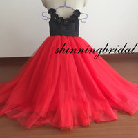 Wholesale 3d Girl Image Red Blue - Real Picture Little Flower Girls' Dresses Red and Black Hand Made Flowers 3D Tulle Ball Gown Little Girls Party Pageant Dresses Actual Image