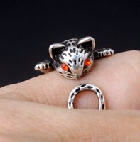 Cute Kitten Fashion Retro Women 925 Anillo Abierto Resizable Delicate Lucky Cat Ring Simple Likesome Jewelry Gift