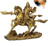 bronz bıçaklar toptan satış-Şanslı Fortuna kasabası halkı olarak Guan Gongguan Bıçaklarının bronz heykeline açık ışık sürün Tanrı Tanrısı Guan Gong Dekorasyon g