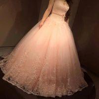 rosa hochzeit abaya großhandel-Western Land 2016 Spitze Brautkleid Schatz Mieder Ball Lace-Up Elbise Abaya Nude Rosa Schärpe Frauen Ballkleid Brautkleid