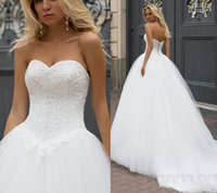 Wholesale Glamorous Empire Sweetheart Dress - Glamorous 2017 New Sweetheart Strapless Wedding Dresses Tulle Applique Exquisite Beaded Lace Wedding Dress Bridal Gowns Lace-up