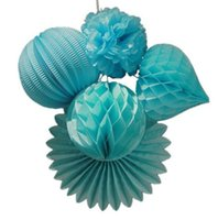 Wholesale Craft Lantern Decoration - Wholesale- 5pc Blue Paper Crafts Party Decoration Set Accordion Lantern  Honeycomb Heart Pom Pom Paper Fan Birthday Wedding Space Decor